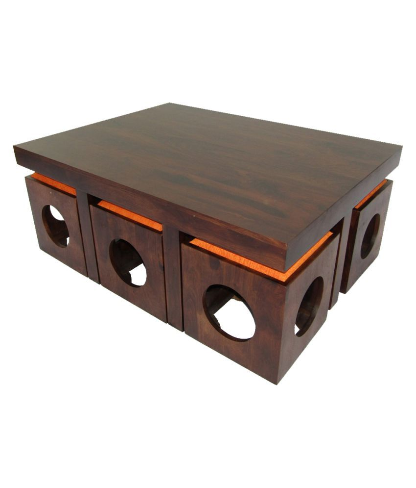 WoodFaber 6 Seater Coffee/Center Table Stool Set