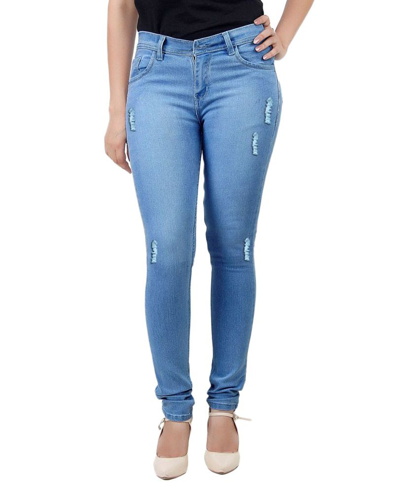 Buy 2 get extra 10% off & Buy 3 get extra 15% off On Women's Clothing By Snapdeal | Haltung Light Blue Cotton Lycra Jeans @ Rs.544