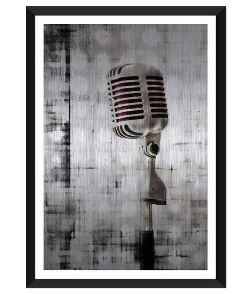 Tallenge Brushed Metal Microphone Paper Art Prints With Frame Single Piece