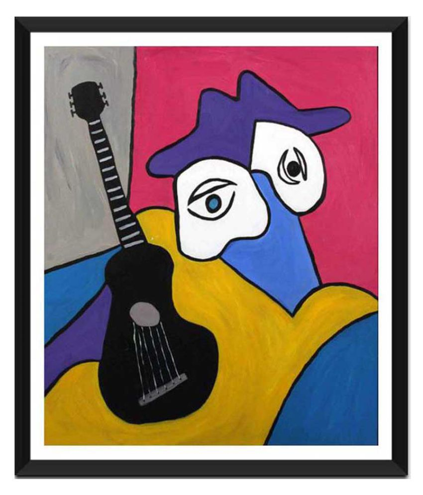 Tallenge Musician And His Black Guitar Ready to Hang Paper Art Prints With Frame Single Piece
