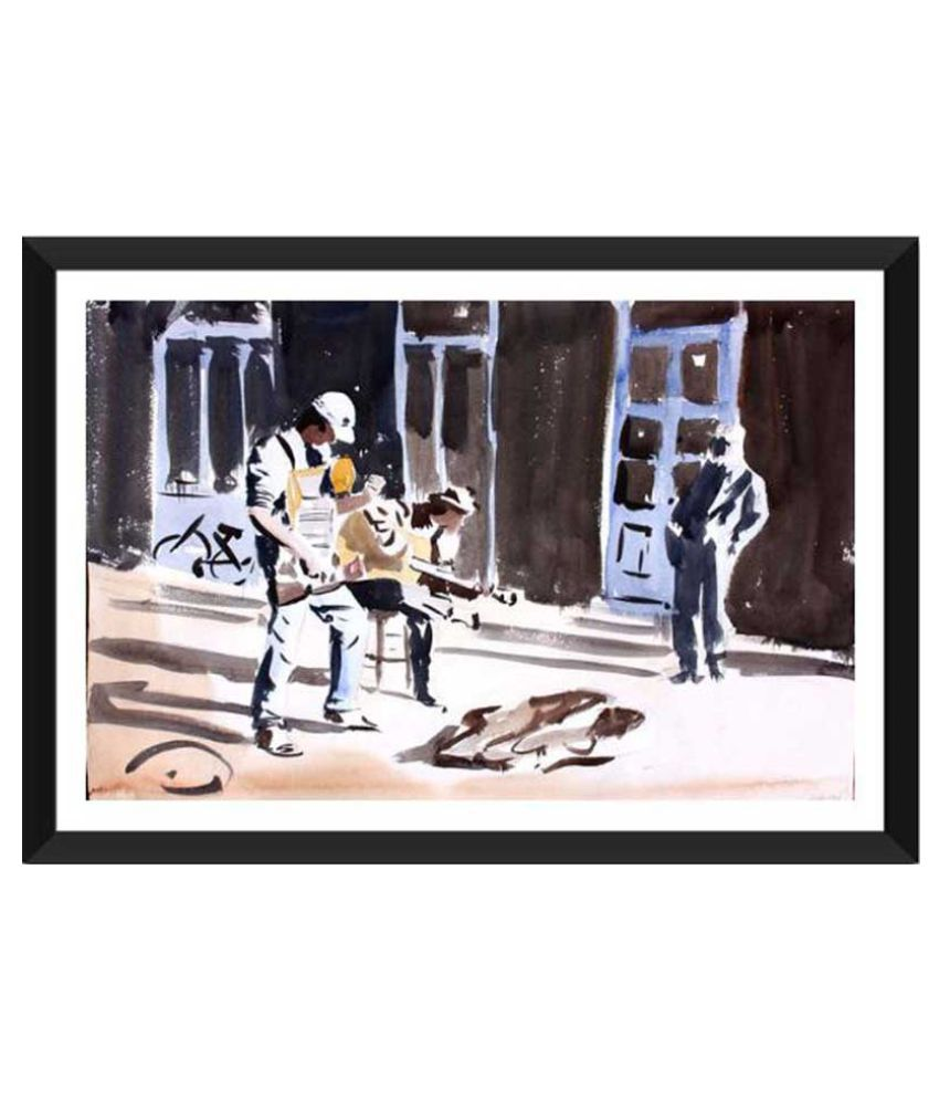 Tallenge Street Musicians Ready to Hang Paper Art Prints With Frame Single Piece
