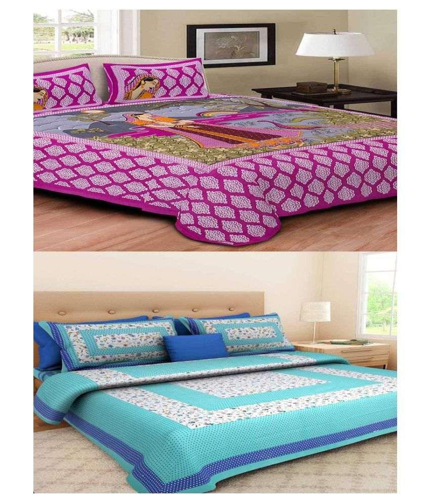 Uniqchoice King Cotton Floral Bed Sheet