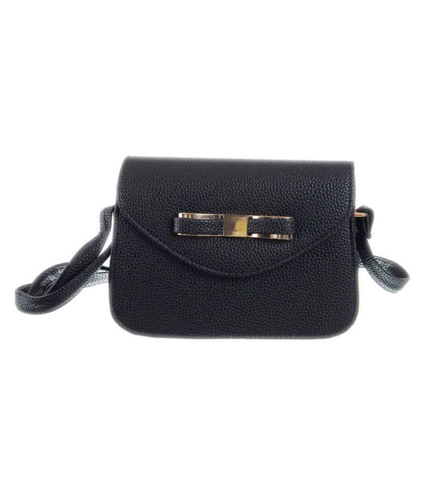 Peaubella Black Faux Leather Sling Bag