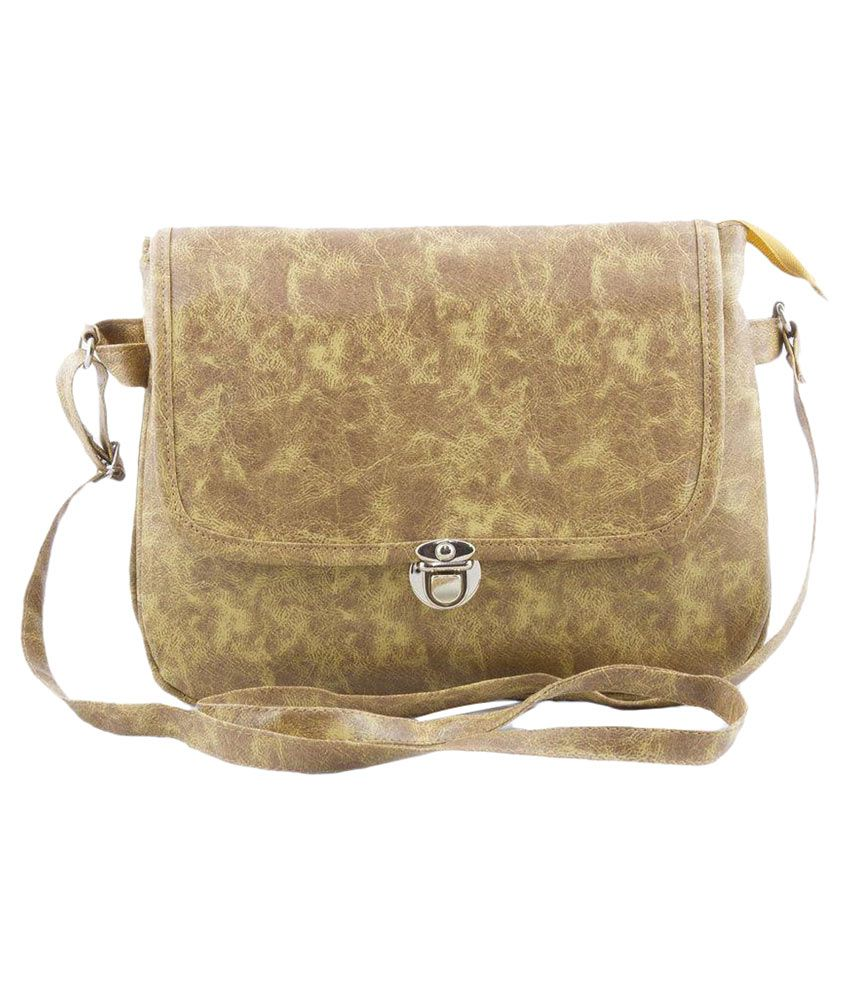 Voaka Brown Faux Leather Sling Bag