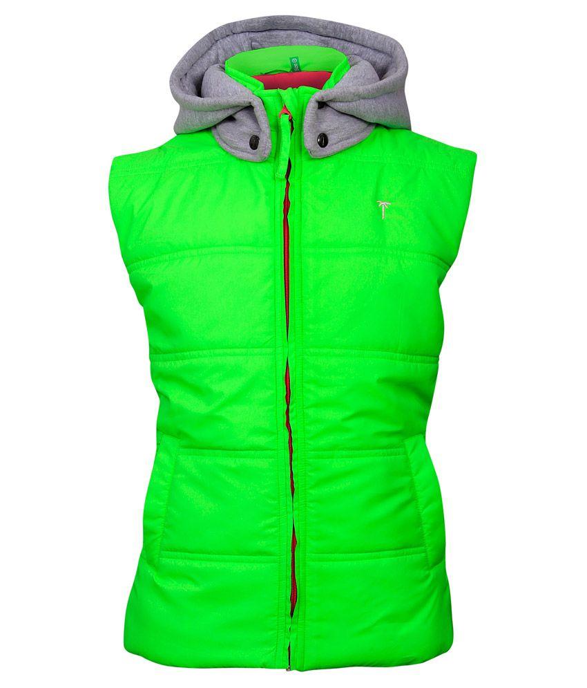Gini & Jony Green Sleeveless With Hood Jacket