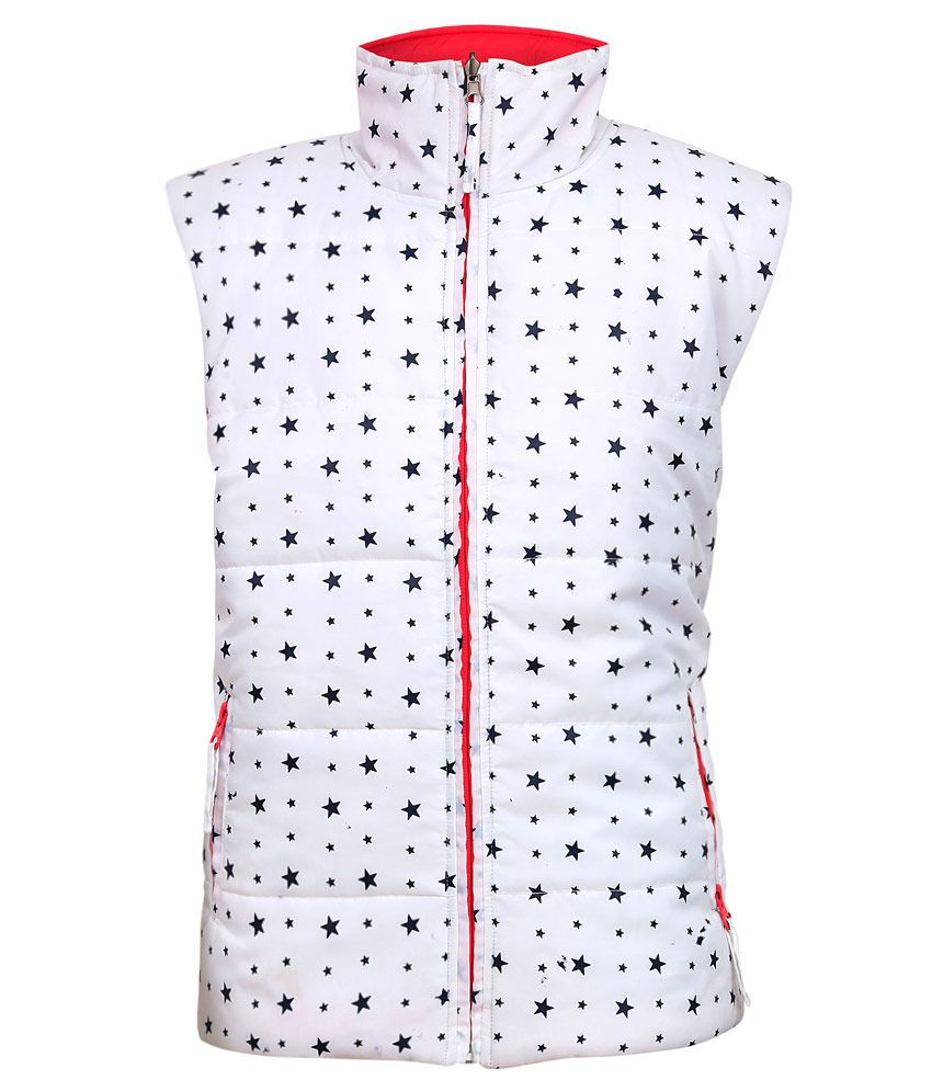 Gini & Jony White Sleeveless Without Hood Jacket