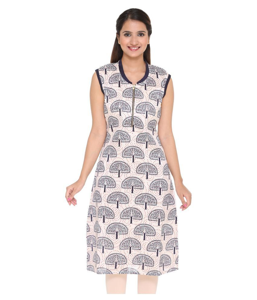 Pride Trends Multicoloured Cotton Straight Self print Kurti