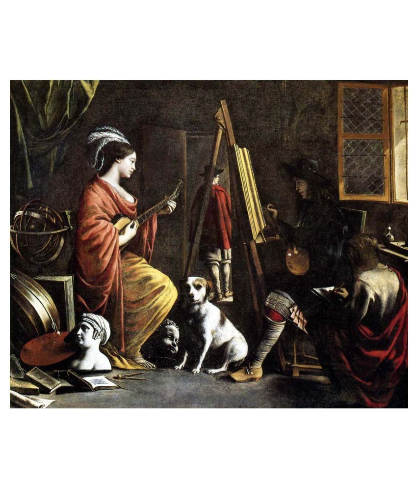 Tallenge Musician At The Artists Studio Gallery Wrap Canvas Art Prints With Frame Single Piece