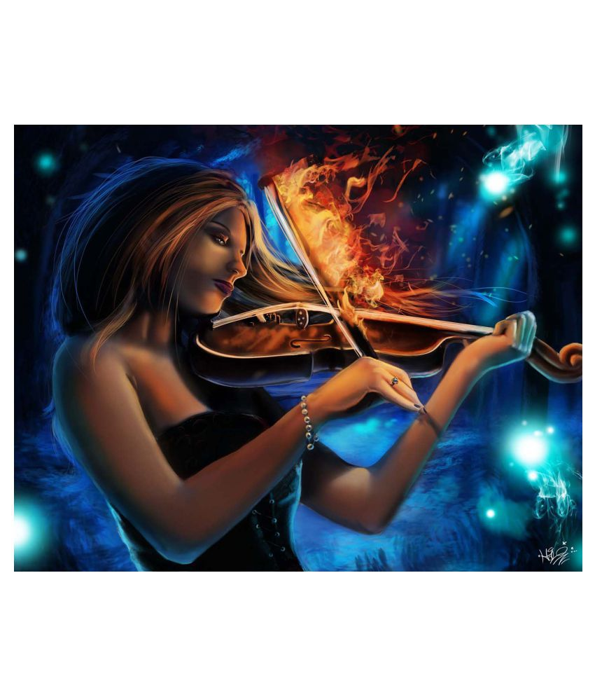 Tallenge Girl With The Burning Violin Gallery Wrap Canvas Art Prints With Frame Single Piece