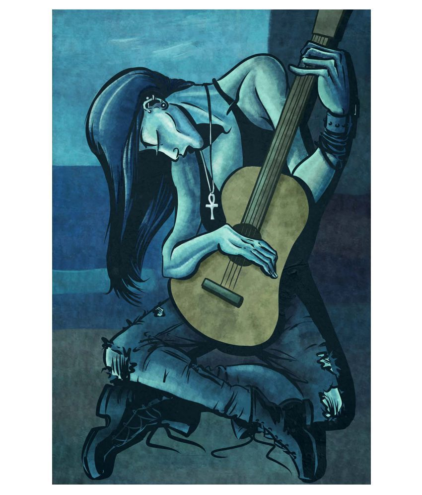 Tallenge The Punk Guitarist (Picasso Style) Gallery Wrap Canvas Art Prints With Frame Single Piece