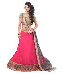 Pavitra Creation Pink Net A-line Semi Stitched Lehenga