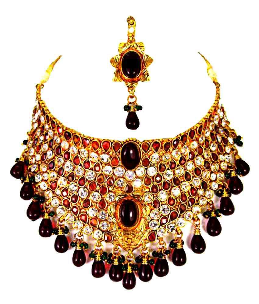 Nandhini Fashions Multicolor Necklace Set with Mang Tikka