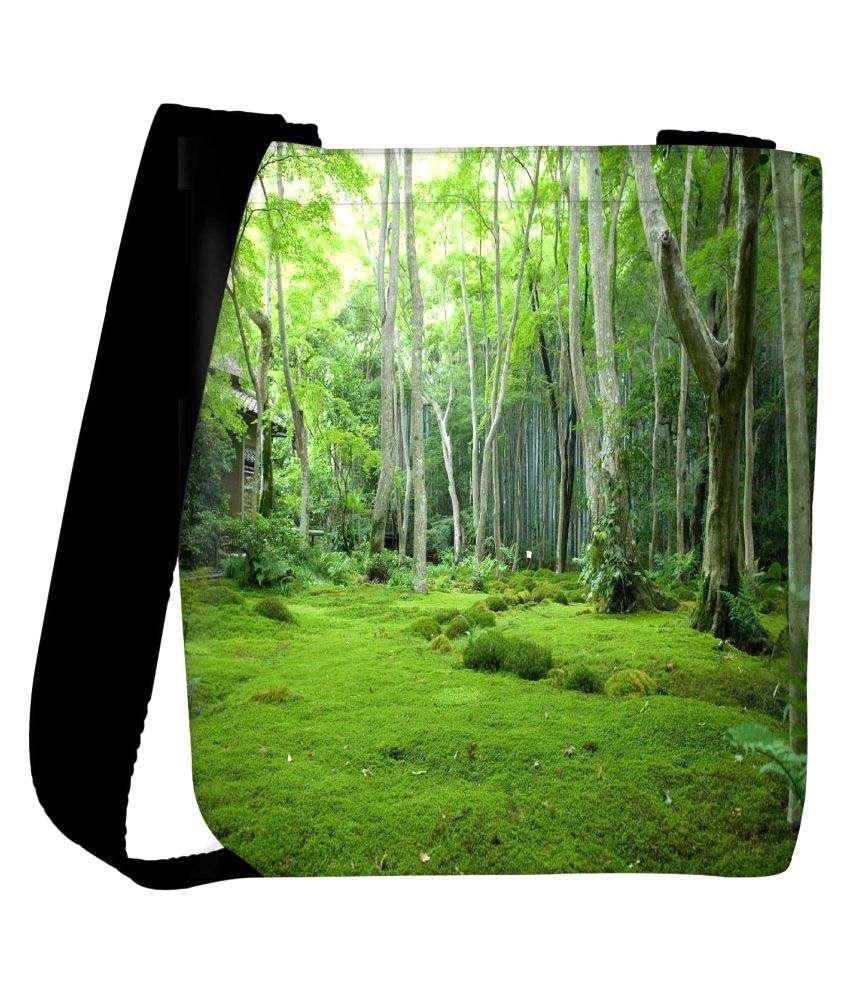 Snoogg Green Fabric Sling Bag