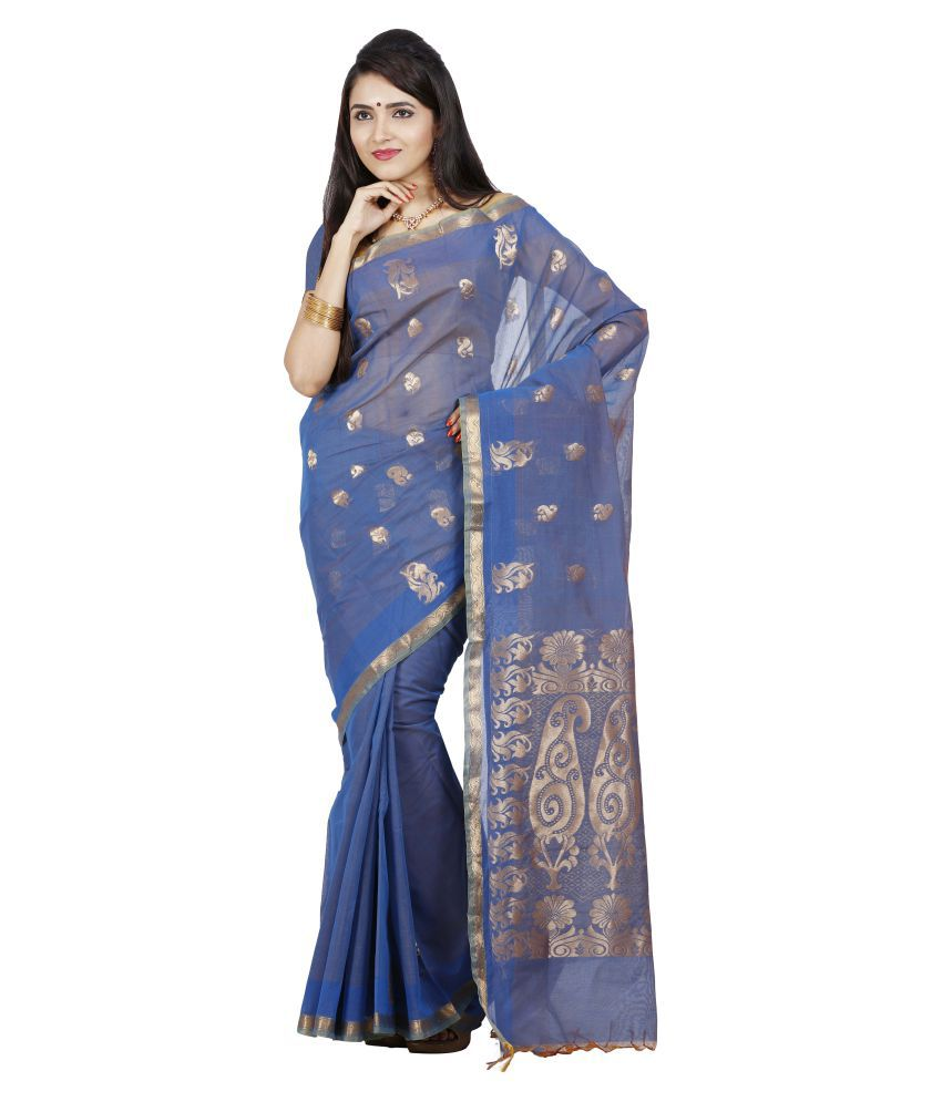 Anusha Blue Cotton Saree