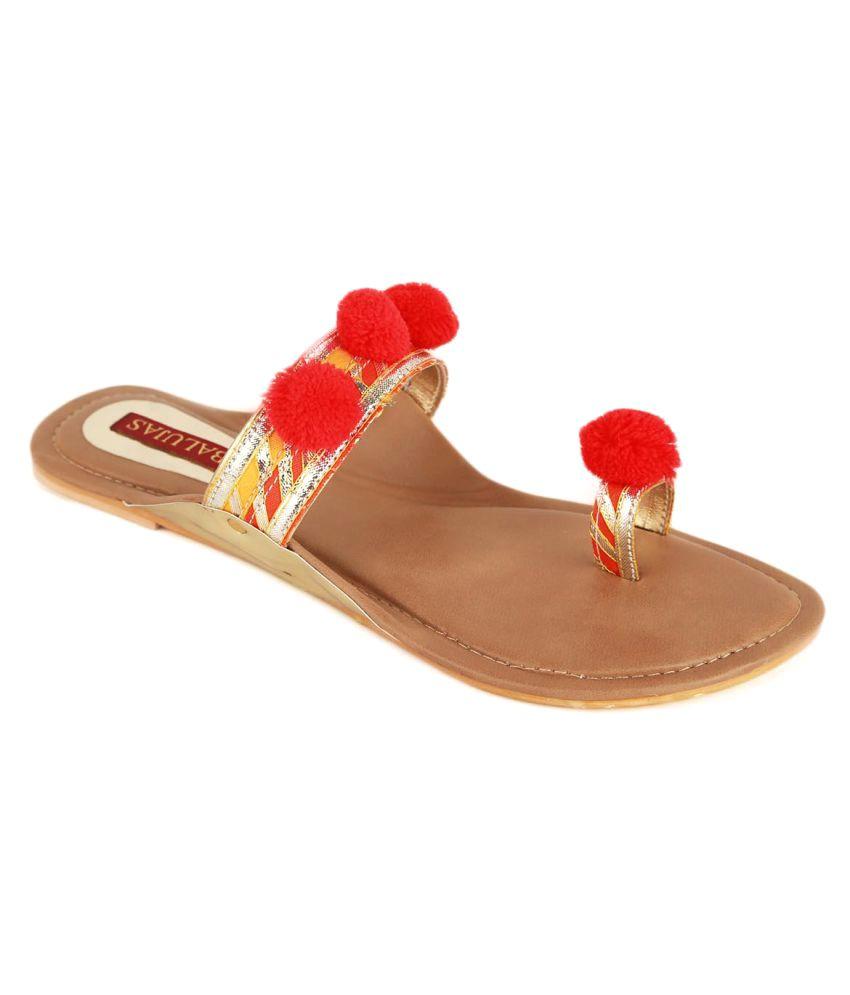 Balujas Red Flat Ethnic Footwear