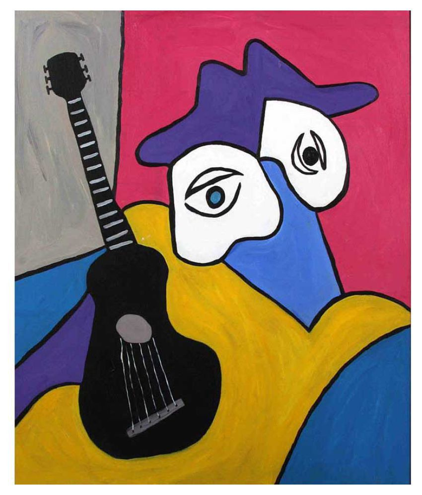 Tallenge Musician and His Black Guitar Rolled Canvas Art Prints Without Frame Single Piece