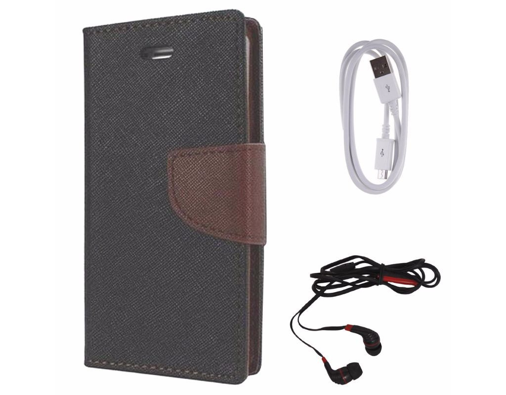 Avzax Diary Look Flip Wallet Case Cover For Motorola Moto E (2nd gen) (Black) +  Data Cable + In Ear Headphone