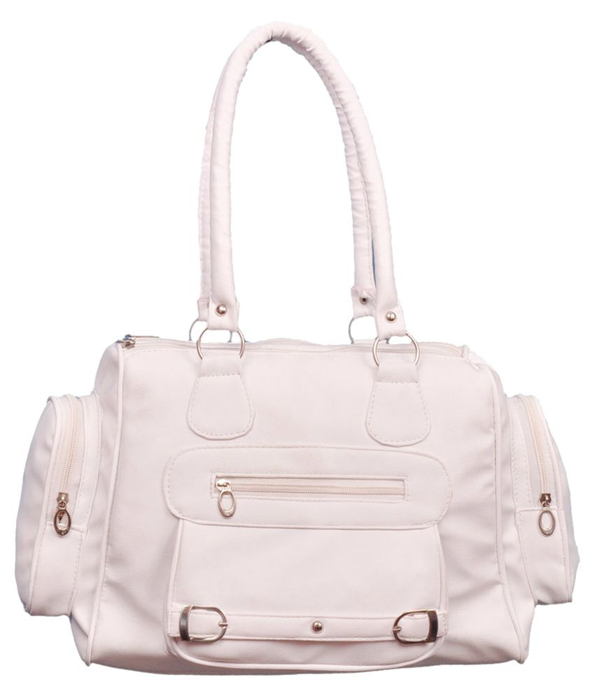 CG White Canvas Shoulder Bag