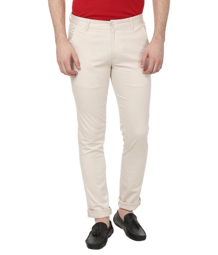French Republic Beige Slim Flat Trouser