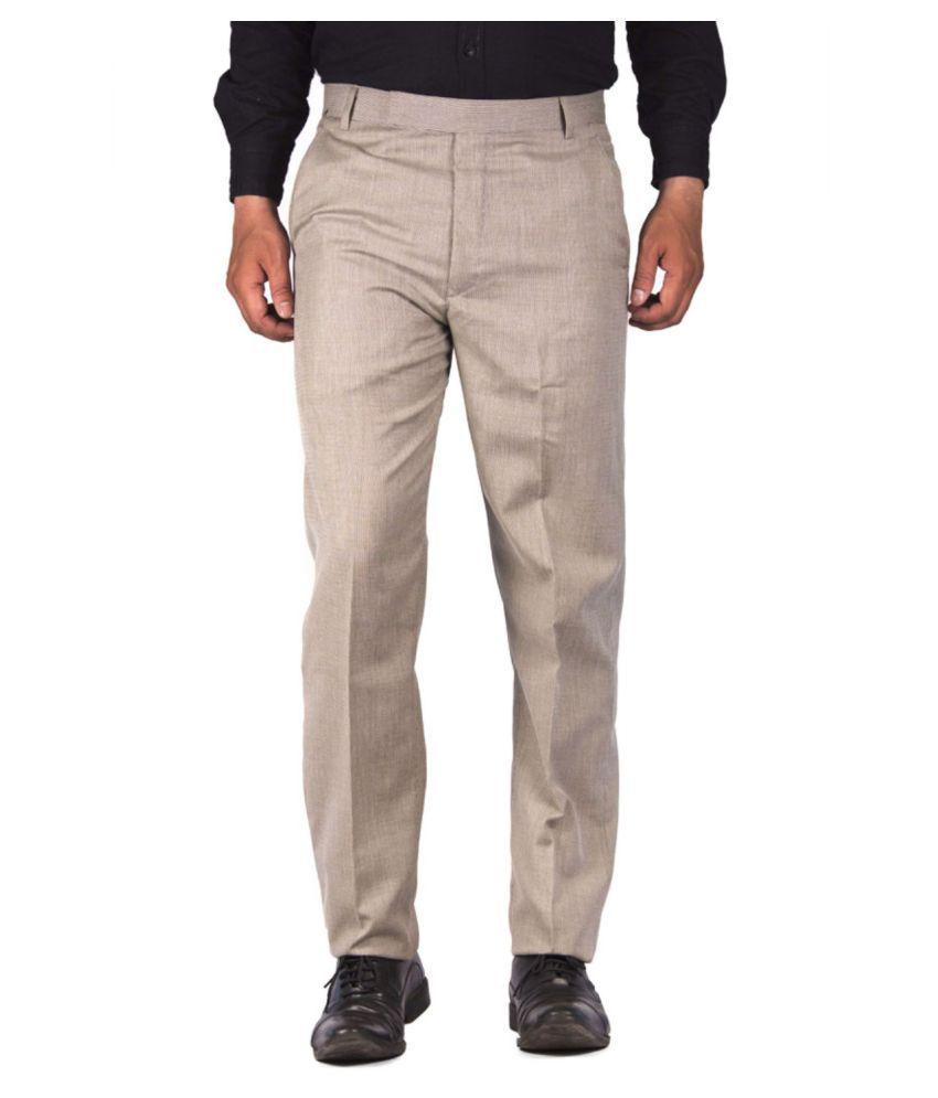 Yash Touch Beige Regular Flat Trouser