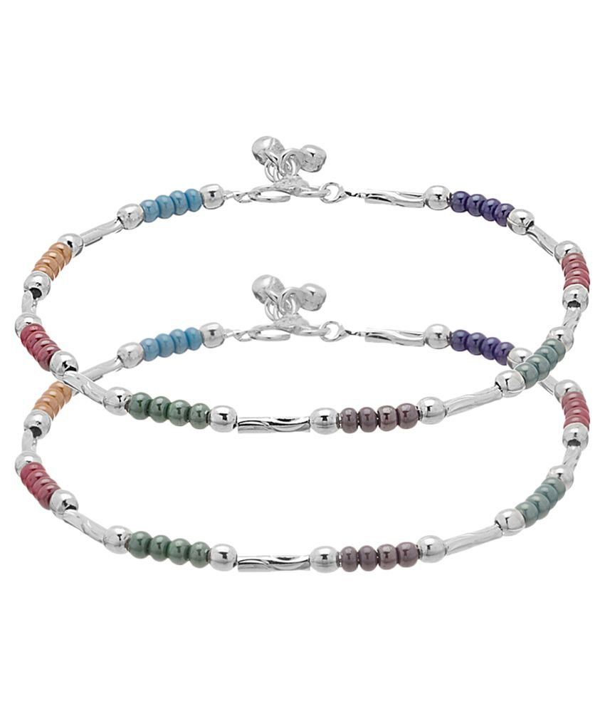 Voylla Multicolour Alloy Anklets - Pair of 2
