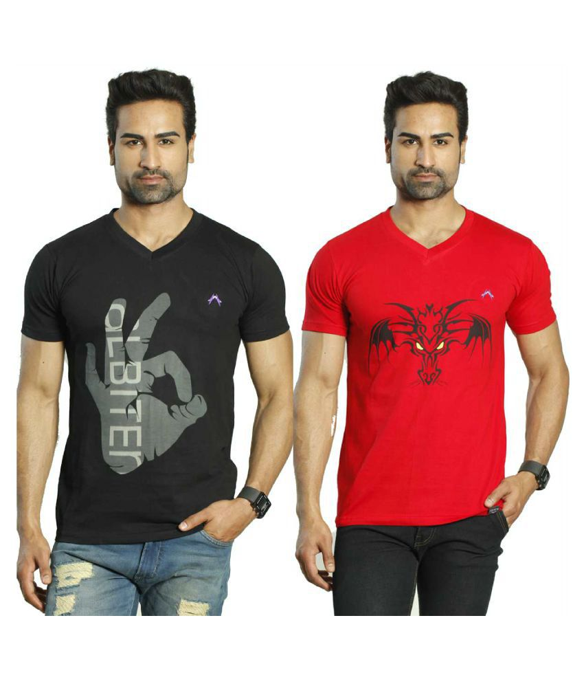 Albiten Multi V-Neck T-Shirt Pack of 2