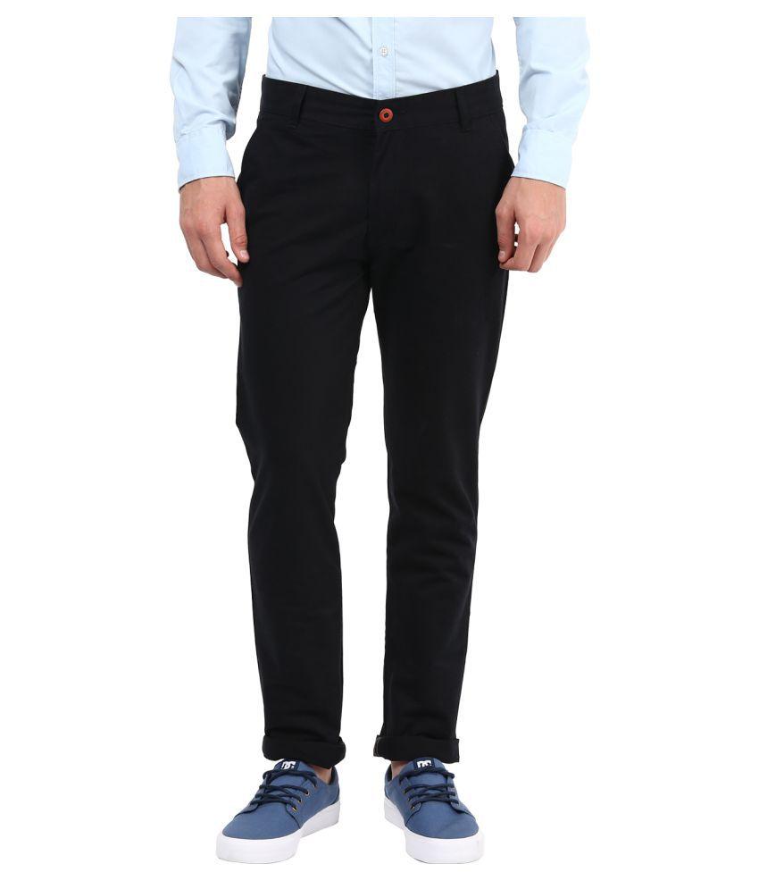 Silver Streak Black Slim Flat Trouser