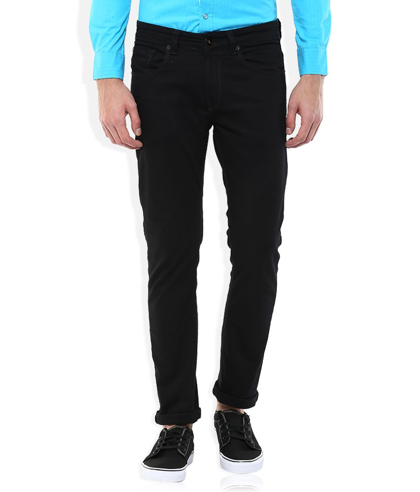 Spykar Black Low Rise Rico Tapered Fit Jeans
