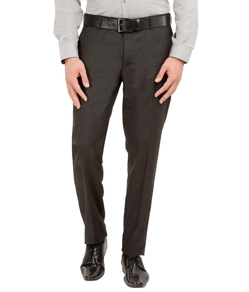 Black Coffee Black Slim Fit Flat Trousers