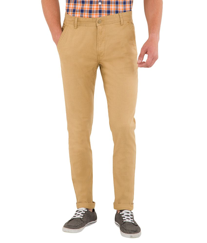 Highlander Beige Slim Fit Chinos