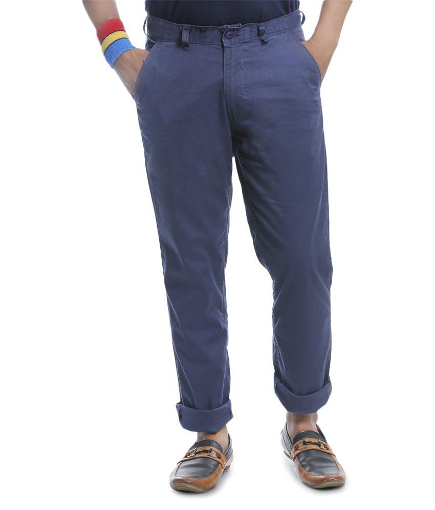 Burbn Navy Blue Regular Flat Trouser