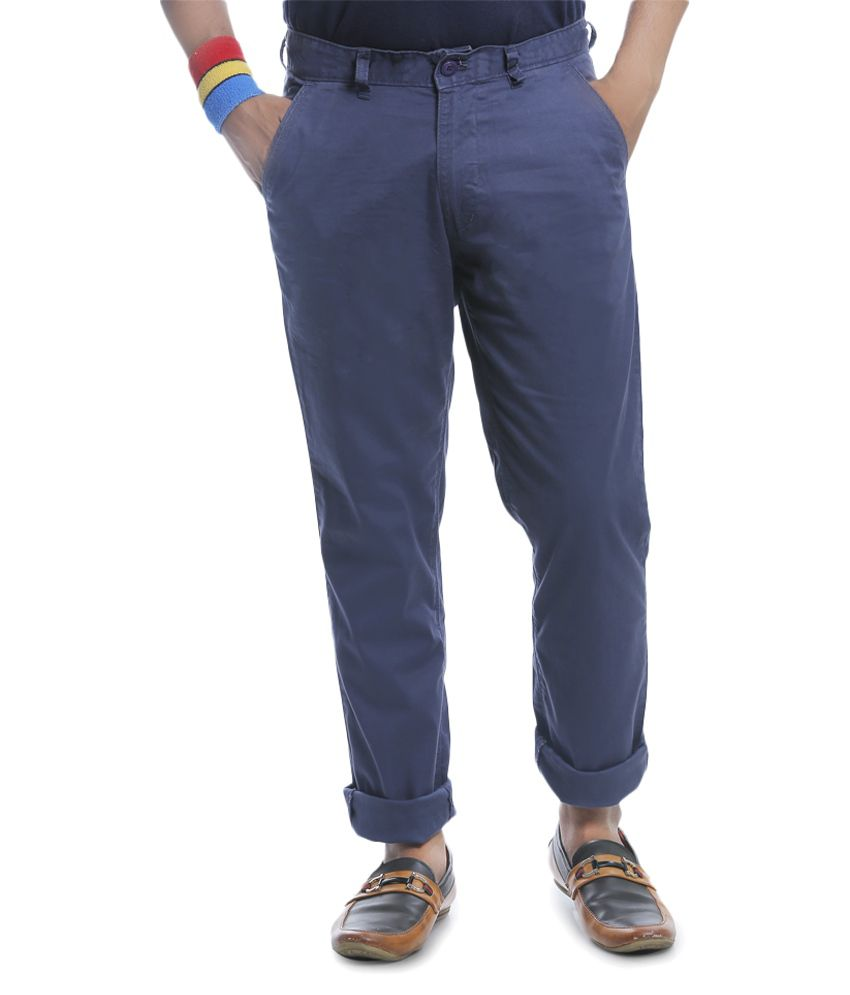 Burbn Navy Blue Regular Flat Trouser