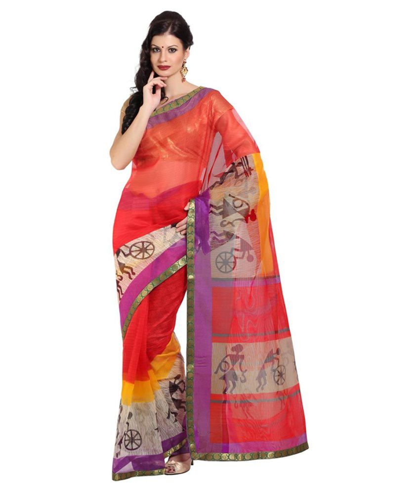 Satrang Multicoloured Net Saree