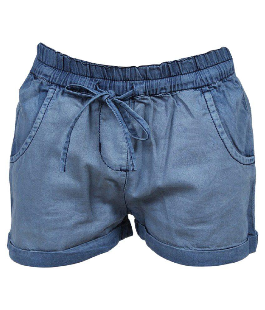 Trmpi Blue Cotton Shorts