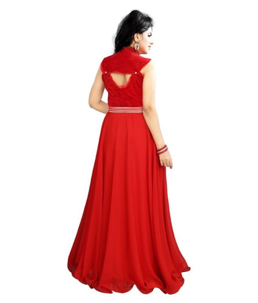 449903d6d7d 19 Likes Red Georgette Gown - Buy 19 Likes Red Georgette Gown Online ...