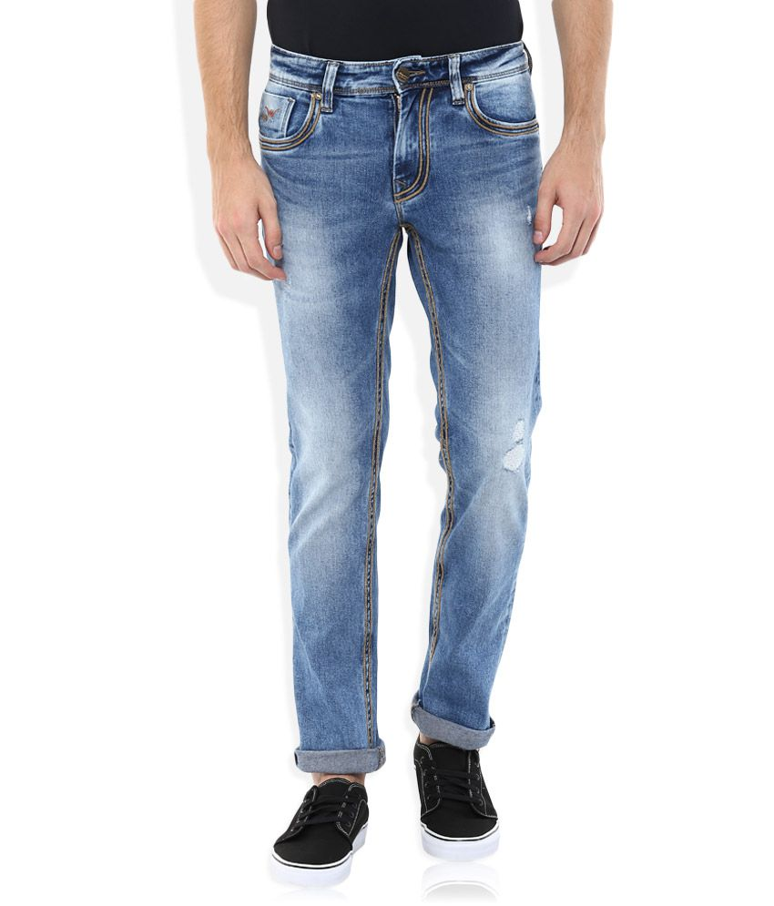 LAWMAN Pg3 Blue Copyright Wire Stitch Slim Fit Jeans
