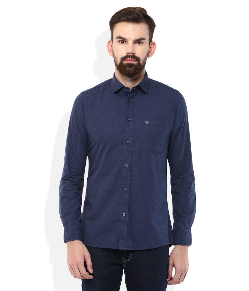 INTEGRITI Navy Slim Fit Solids Shirt