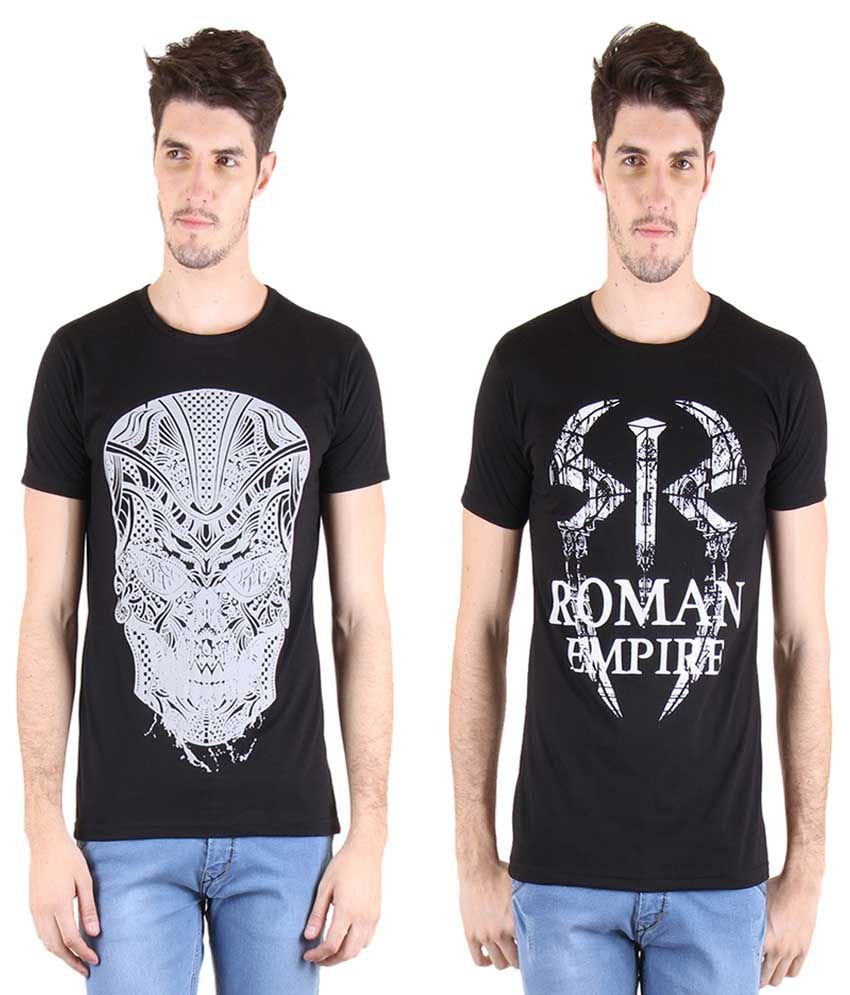 Incynk Black Round T-Shirt Pack of 2