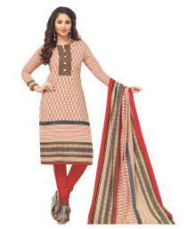 Salwar Studio Beige Cotton Dress Material