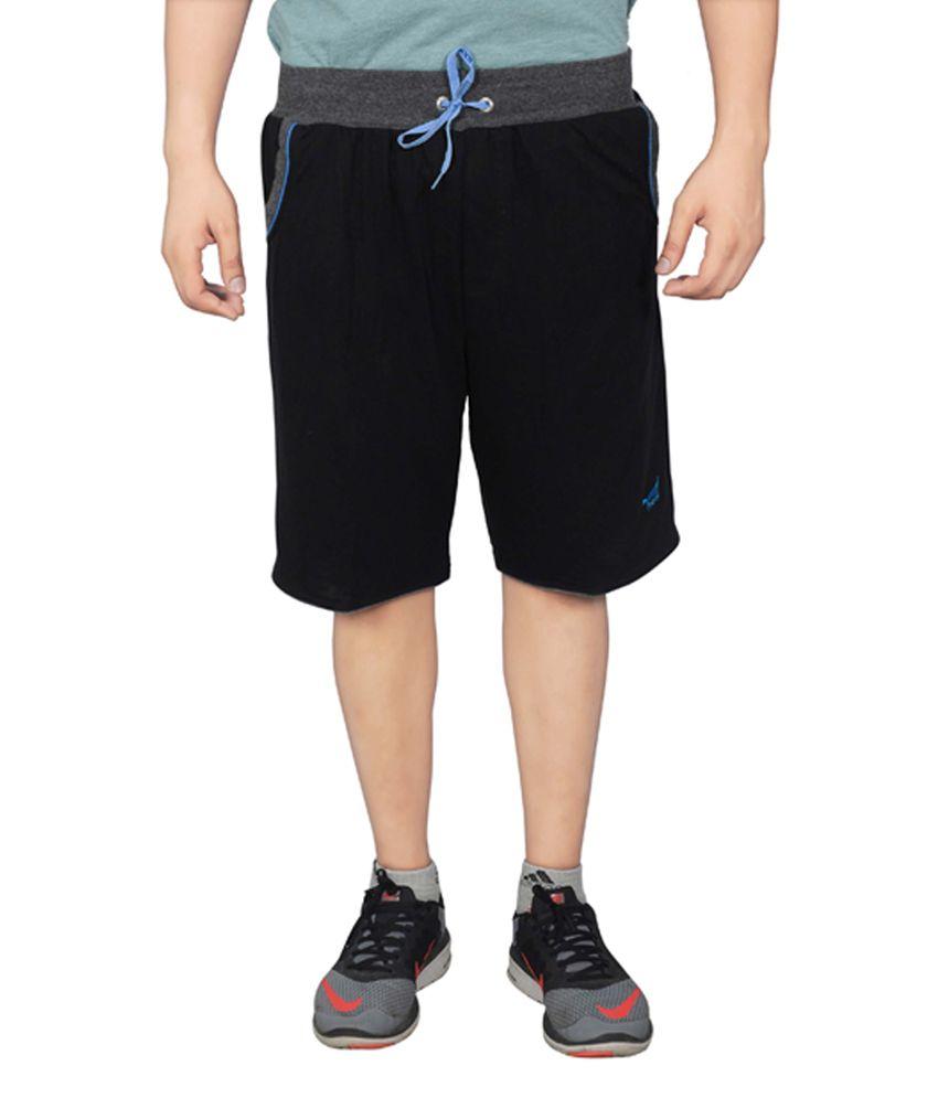 NNN Black Knee Length Men's Cotton Bermuda