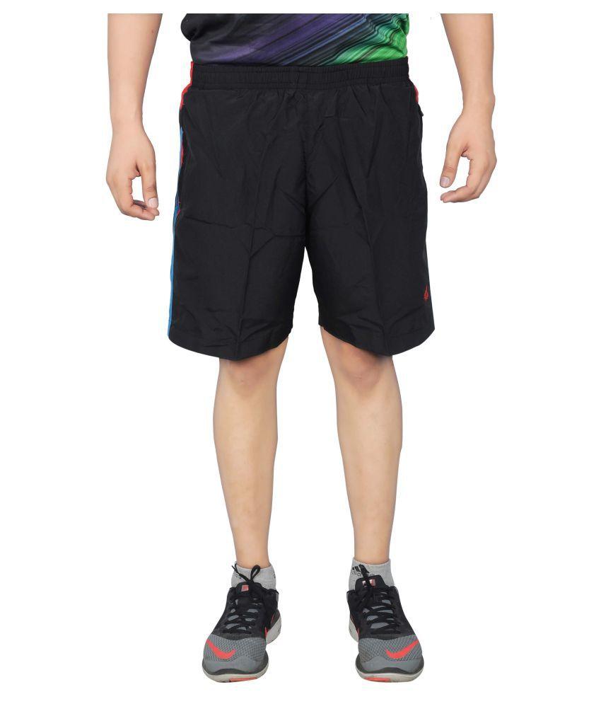 NNN Black Polyster Shorts for Men