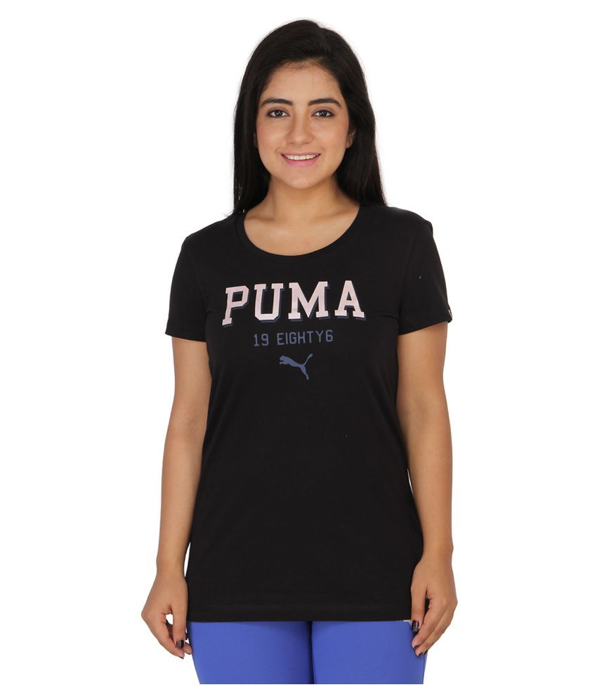 Puma Black Cotton T-Shirts