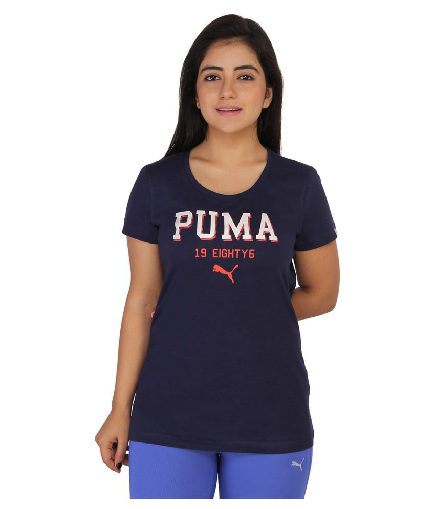 Puma Navy Cotton T-Shirts