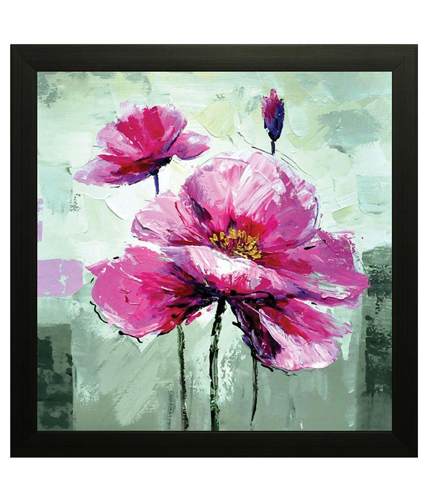 SAF Floral Wood Art Prints With Frame Single Piece