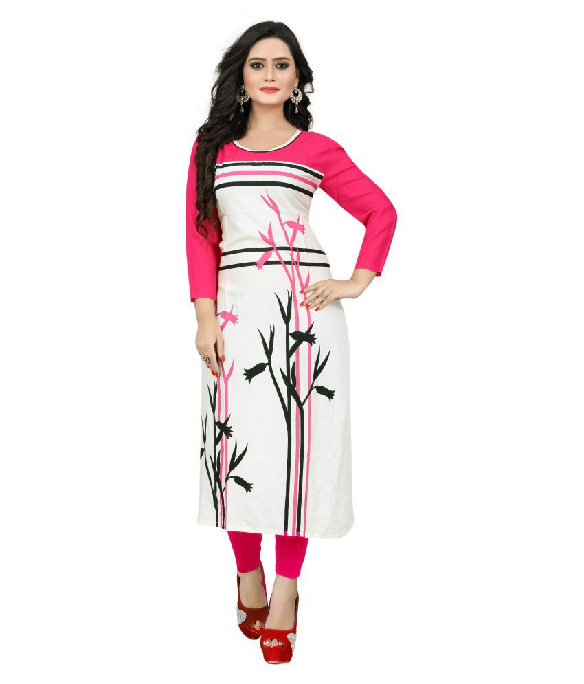 Krishnam Fashion White Rayon Straight Floral Kurti