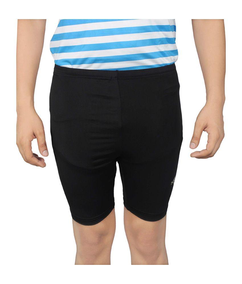 NNN Black Lycra Knee Length Men's Cycling Shorts