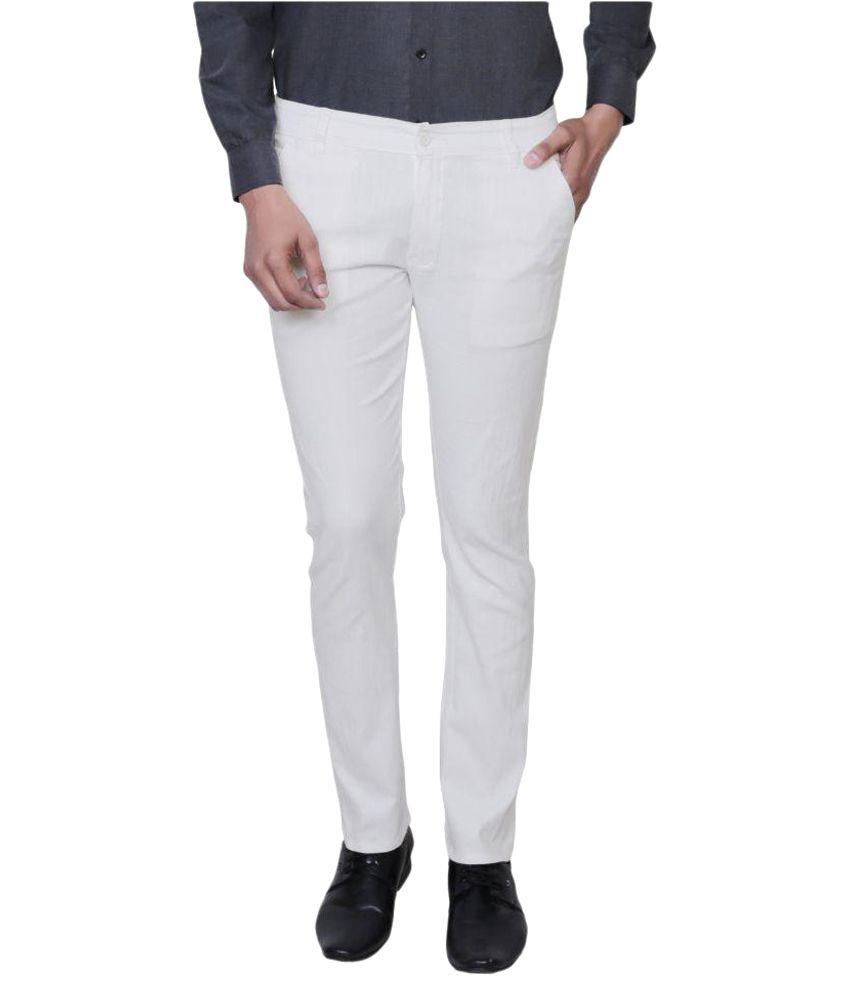 Variksh White Slim Flat Trouser