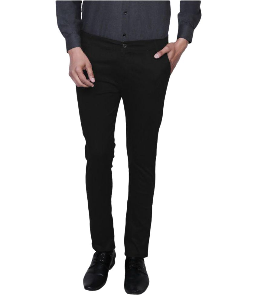 Variksh Black Slim Flat Trouser