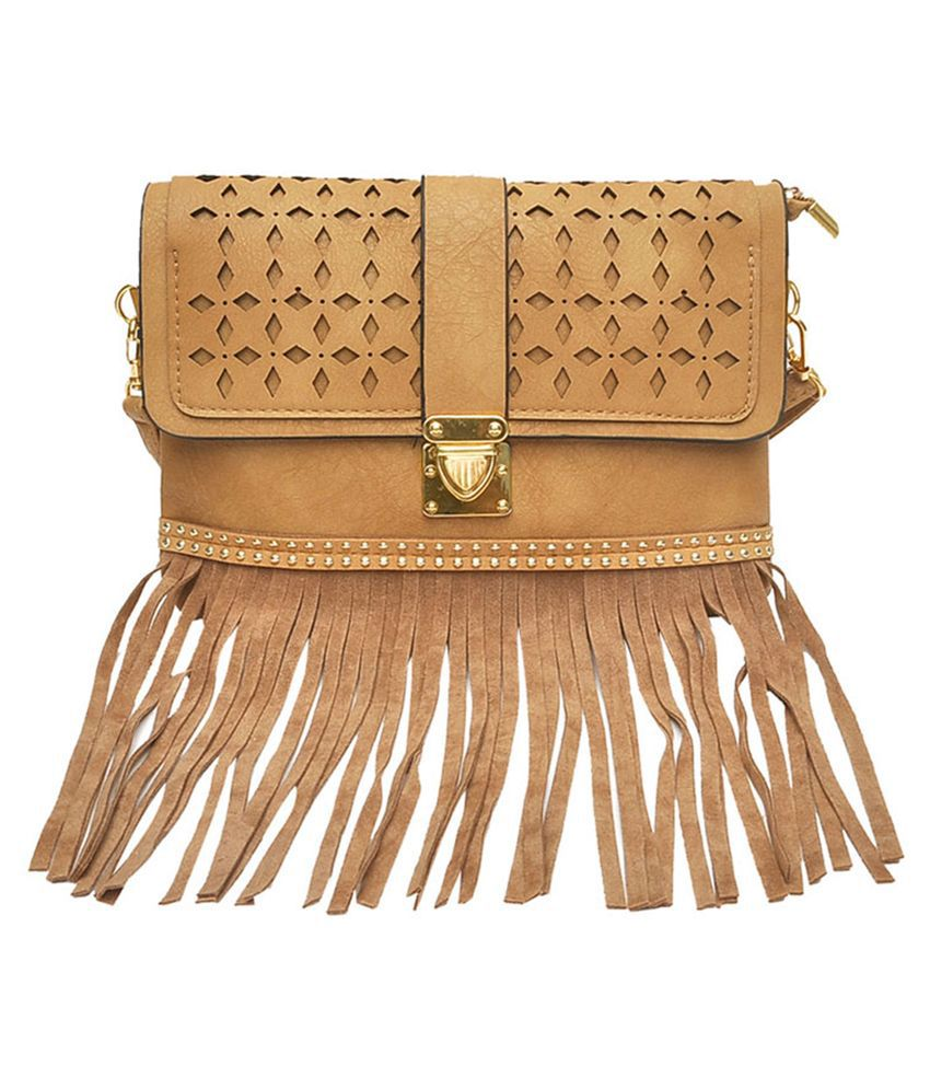 Hawai Beige Faux Leather Sling Bag