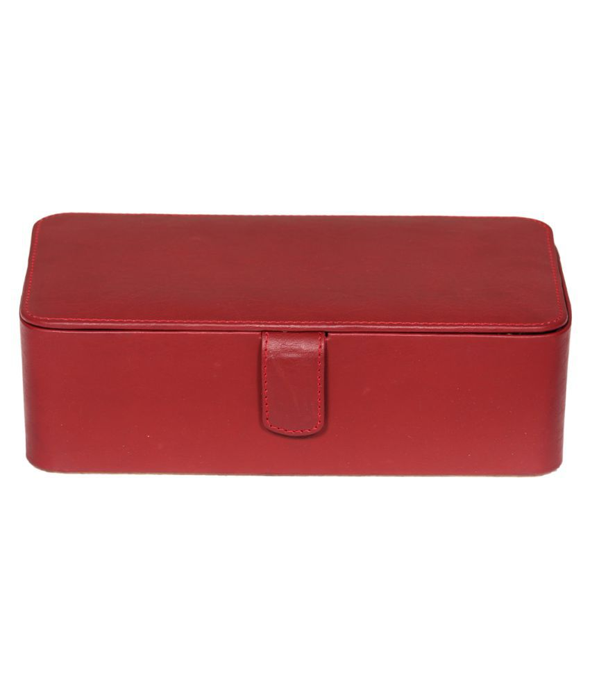 Leather World Maroon Leather Jewellery Box